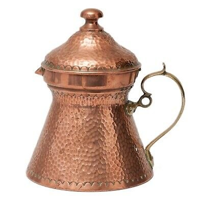 Antique English Arts & Crafts Hand Planished Copper Jug with Brass Handle c1890