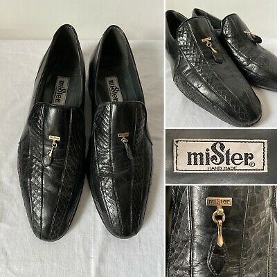 Vintage Mister Hand Made Mens Black Leather Real Snakeskin Shoes Size UK 6.5
