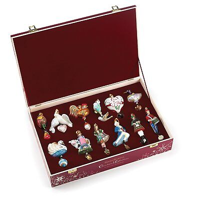 Reed & Barton 12 Days Of Christmas Ornament Set Twelve Glass Wooden Chest NEW