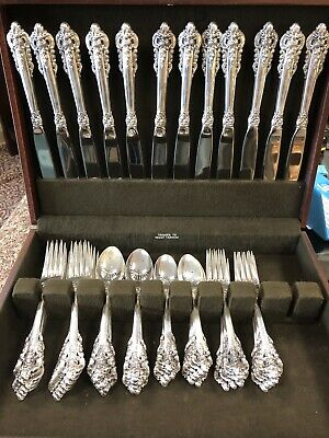 Wallace Grande Grand Baroque Sterling Silverware Set 66 Pieces for 12 Piece Set