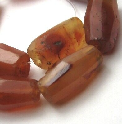 8 FACETED BANDED CARNELIAN AGTE EYE ANCIENT/OLD MALI BEADS AFRICAN TRADEx