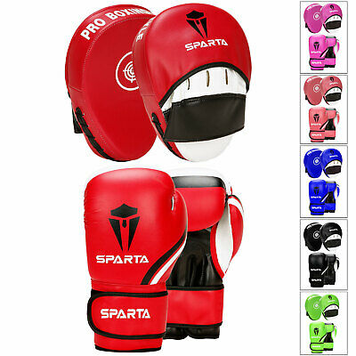 Boxing Gloves and Focus Pads Set Sparring Punch Bag Hook Jab Gym Training MMA