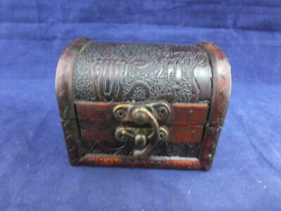 Small Wooden Gift or Trinket Box with an Egyptian Design Top.