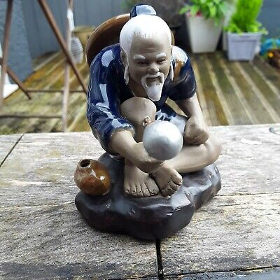Vintage Mud Man Chinese Fisherman Figurine