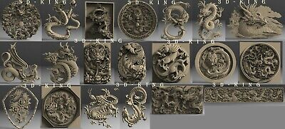 20 Pcs STL 3D Models ASIAN DRAGONS for CNC 3D Printer Engraver Carving Aspire