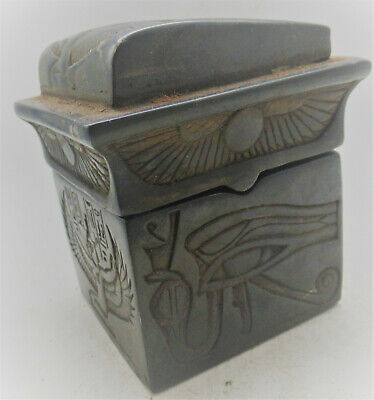 Beautiful Antique Egyptian Black Stone Box With Depictions Of Isis