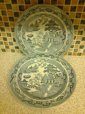 Bishop Stonier Bisto England Willow Pattern Dinner Plates X 5