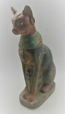 Superb Ancient Egyptian Stone Bastet Cat Statuette Very Beautiful