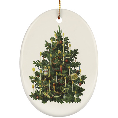 WhatnotGems Candle Lite Christmas Tree 3156 Ceramic Oval Ornament