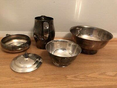 Vintage Silver plate Paul Revere, Gorham, Sheffield Dishes Lot Of 5