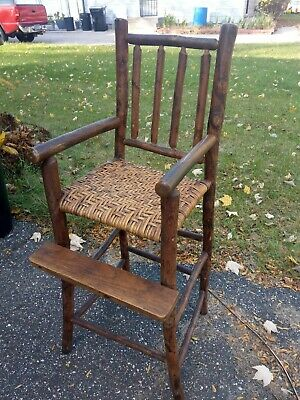 Antique old hickory Adirondack rustic camp cabin doll or baby high chair