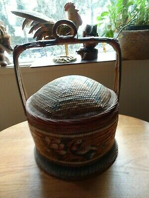 Antique Handmade Chinese Basket RARE 1900's - 1940's rice wedding hand painted
