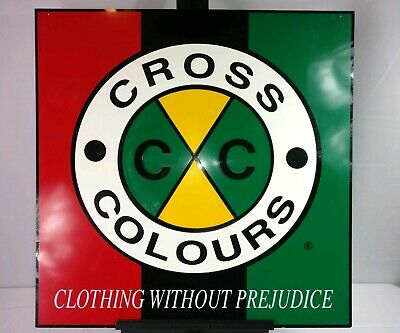 Vtg 90s Cross Colours Clothing Fashion Store Fixture Advertising Display Sign CC