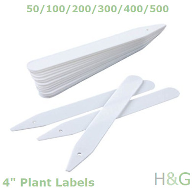 """4"""" White Plant Labels - Plastic Gardening Tags Herb Pot / Seed Tray Markers"""