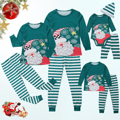 Christmas Xmas Matching Family Pajamas Sleepwear Nightwear PJS Women Kids Set
