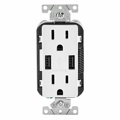 Leviton Decora 15A White Outlet Receptacle w/ USB Chargers 3.6A R02-T5632-BW