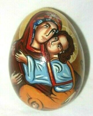 Antique Russian Orthodox Hand Painted Virgin Mary & Baby Jesus Icon Egg SIGNED