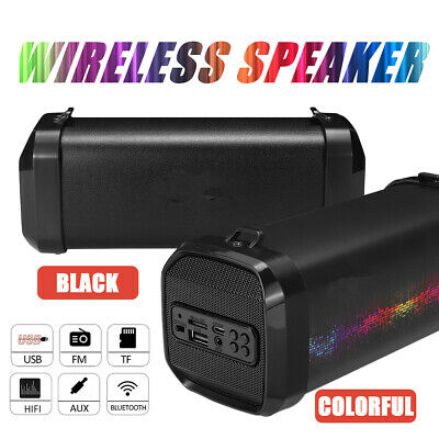 bluetooth Wireless Speaker Rechargeable Stereo Bass Subwoofer USB AUX FM