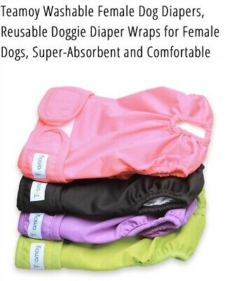 **FEMALE DOG DIAPERS** by Teamoy, Reusable & washable SIZE M set of 3!
