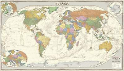 Antique Style World Wall Map 1333 x 766mm