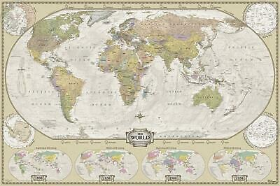 World Retro/Antique Style Wall Map 1160 x 770mm