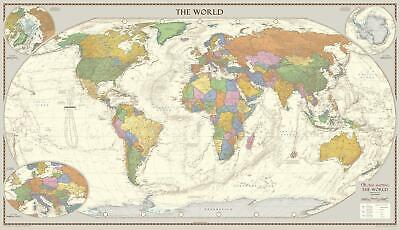 Antique Style World Wall Map 1000 x 575mm