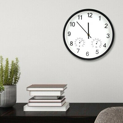 12 Inch Simple Classic Wooden Wall Clocks Silent Quartz Thermometer Hygro