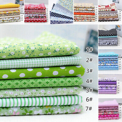 7PCS 100% Cotton Fabric Sewing Material Value Bundle Scraps Offcuts Quilting B