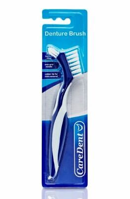 2 x CareDent Denture Brush Dental Toothbrush :: Rubber :: Dual Purpose :: RARE
