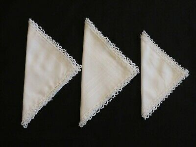 Three White Vintage Handkerchiefs With Handmade Tatted Lace Edging