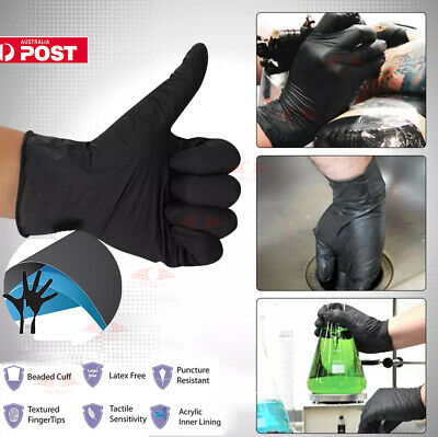 100-300x Black Disposable Nitrile Gloves Mechanic Medical Rubber (Latex Free)