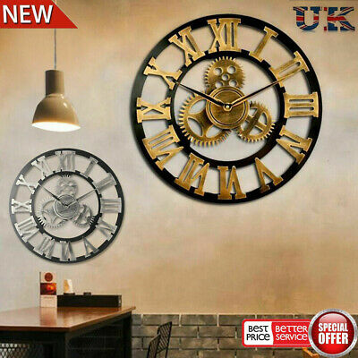 Extra Large Roman Numerals Skeleton 60Cm Wall Clock Big Giant Open Face Round A