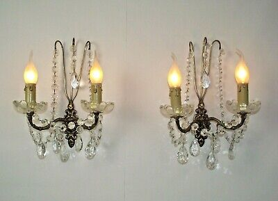 Pair Double Antique French Brass Rococo Style Crystal & Glass Wall Sconces 1605