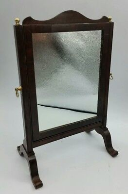 Antique Edwardian Dark Oak Veneered Freestanding Vanity Dressing Table Mirror