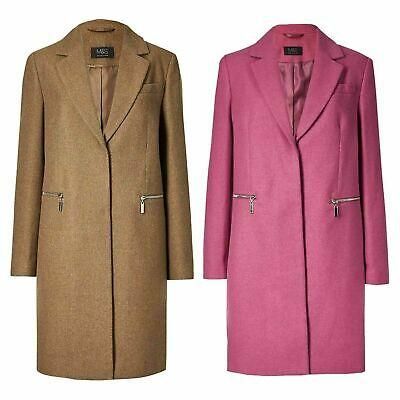 NEW Ex M&S Wool Blend Single Breasted Coat Camel Pink Size 8-24 RRP £69
