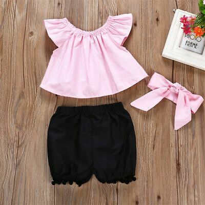 Clothes Swimsuit Off Shoulder T-shirt Ruffle Tops Black Pants Baby Girl Outfits