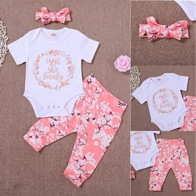 Girls Letters Jumpsuit Romper Floral Pants Baby Outfits Set Bow Headband