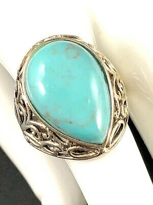 Striking Signed Cfj 925 Sterling Silver Turquoise Teardrop Stone Ring Size 7