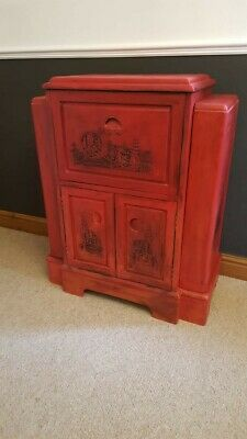 Unusual Hand Painted Annie Sloan Emperors Silk and Black Wax Drinks Cabinet