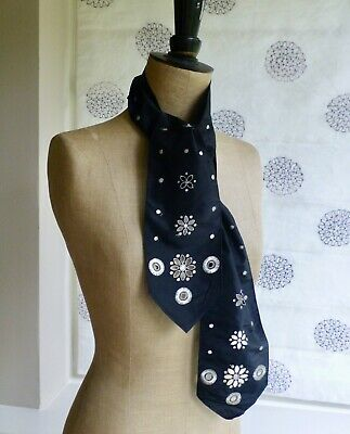 Antq vtg Edwardian 20's 30's style embroidered neck tie scarf