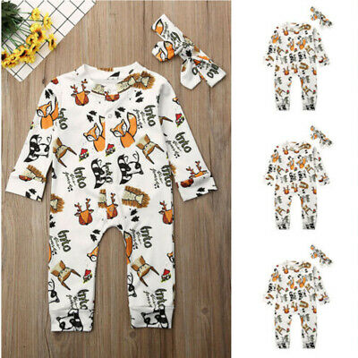 UK Toddler Baby Boy Girls Cotton Cute Romper Headband Jumpsuit Outfits Clothes