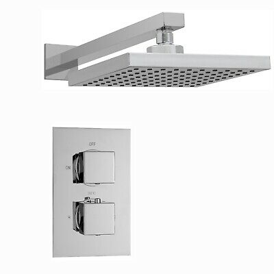 ENKI Mitigeur thermostatique encastrable set de douche mural carre chrome 400 mm