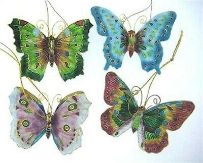 Kubla  Cloisonne Butterfly ornaments Set of 4pc Superb quality ! 4393