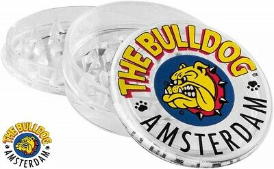 THE BULLDOG PLASTIC GRINDER 3 PART MAGNETIC 60mm HERB SHARK TEETH STORAGE CLEAR