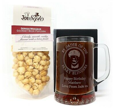 Personalised Peaky Blinders Pint Glass Tankard & Beer Popcorn or Chocolate Gift
