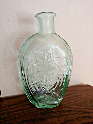 Clear HAND BLOWN REPRODUCTION CORNUCOPIA EAGLE PINT HISTORICAL FLASK