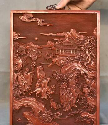 """15"""" Marked Old Chinese Red lacquerware Carving 18 Arhat Buddha Folding Screen"""