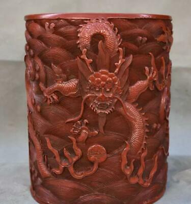 """9"""" Marked Old Chinese Red lacquerware Palace Dragon Beast Brush Pot Pencil Vase"""