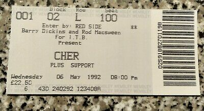 Cher Concert Ticket 6Th May 1992. Wembley.