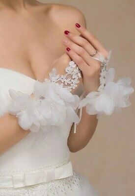 Mittens Gloves short Dentelle Ceremony Petal (White, Red) Marriage Opera
